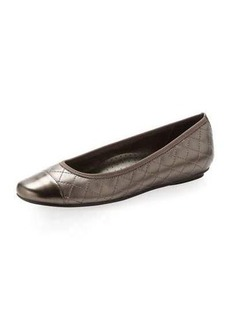 Neiman Marcus Saucy Quilted Leather Ballerina Flat