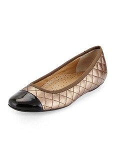 Neiman Marcus Saucy Quilted Leather Flat