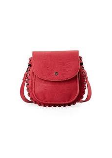 Neiman Marcus Scalloped Faux-Leather Saddle Bag