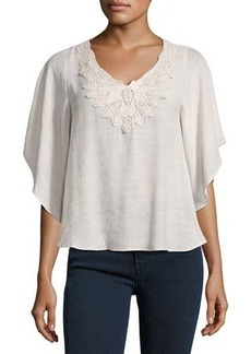 Neiman Marcus Scalloped V-Neck Crochet-Trim Poncho Top