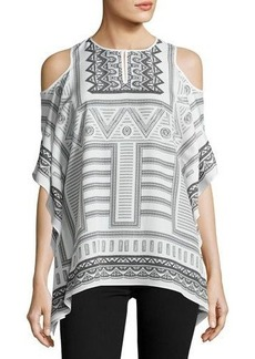 Neiman Marcus Scarf-Print Cold-Shoulder Top