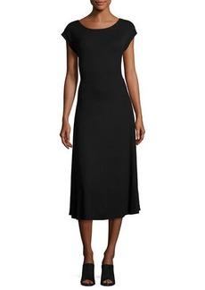 Neiman Marcus Scoop-Back Tie-Waist Ribbed Dress