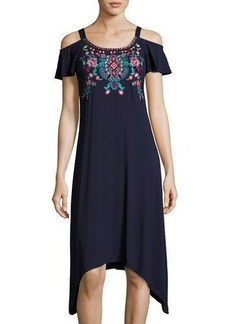 Neiman Marcus Scoop-Neck Cold-Shoulder Embroidered Dress