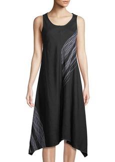 Neiman Marcus Scribble-Embroidered Linen Handkerchief Dress