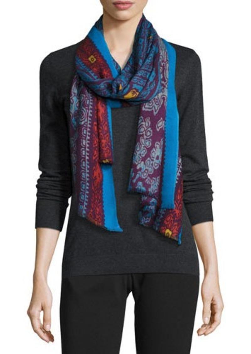 Neiman Marcus Scroll-Print Wool Scarf