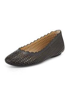 Neiman Marcus Selena Scalloped-Edge Ballet Flat