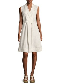 Neiman Marcus Self-Belt Sleeveless Linen Dress