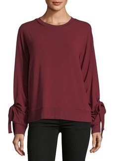 Neiman Marcus Self-Tie Long-Sleeve Grommet Sweatshirt