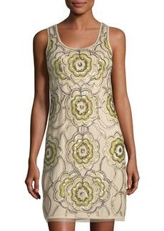 Neiman Marcus Sequin Beaded Sheath Dress