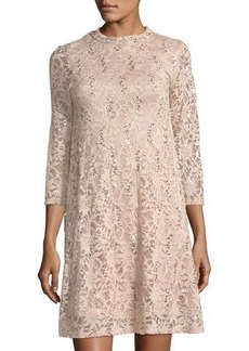 Neiman Marcus Sequin Floral Lace Three-Quarter Sleeve Cocktail Dress