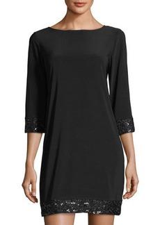 Neiman Marcus Sequin-Trim Shift Dress
