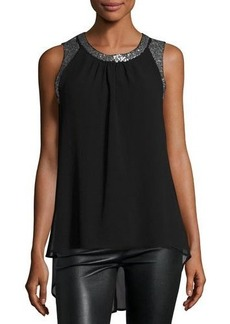 Neiman Marcus Sequined Chiffon Top