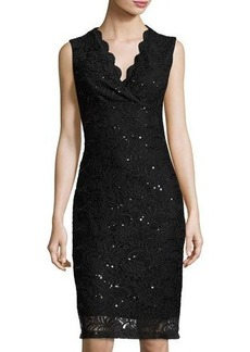 Neiman Marcus Sequined Lace Fitted Dress