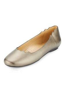 Neiman Marcus Seva Scalloped Leather Flat