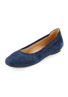 Neiman Marcus Seyna Scalloped Suede Flat