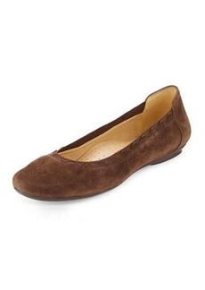 Neiman Marcus Seyna Suede Scalloped Flat