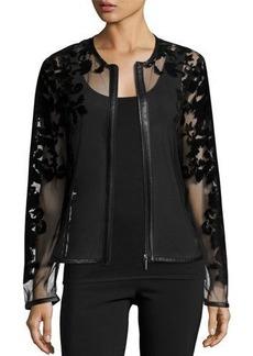 Neiman Marcus Sheer Leather-Trim Jacket w/ Baroque Velvet Overlay