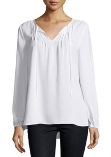 Neiman Marcus Sheer Pintucked Peasant-Sleeve Blouse