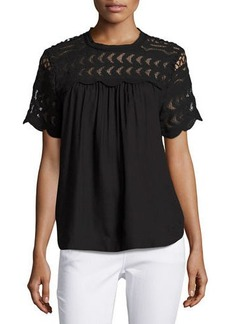 Neiman Marcus Short-Sleeve Crewneck Top