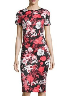 Neiman Marcus Short-Sleeve Floral-Print Neoprene Midi Dress