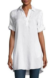 Neiman Marcus Short-Sleeve Pinstripe Tunic