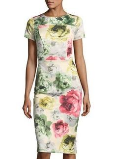 Neiman Marcus Short-Sleeve Printed Dress