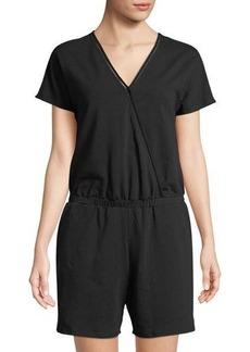 Neiman Marcus Short-Sleeve V-Neck Romper