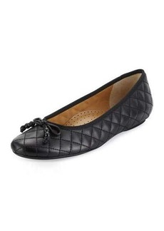 Neiman Marcus Sidney Quilted Leather Ballerina Flat