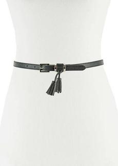 Neiman Marcus Skinny Faux-Leather 15mm Tassel Loop Belt