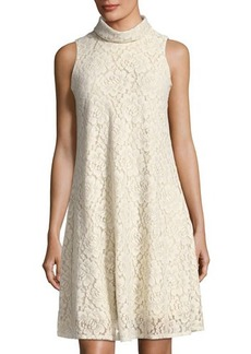 Neiman Marcus Sleeveless A-Line Lace Dress