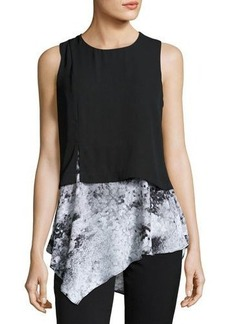 Neiman Marcus Sleeveless Asymmetric Hem Top