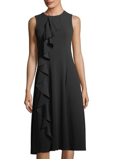 Neiman Marcus Sleeveless Asymmetric Ruffle Midi Dress