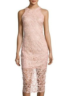 Neiman Marcus Sleeveless Body-Con Lace Midi Dress