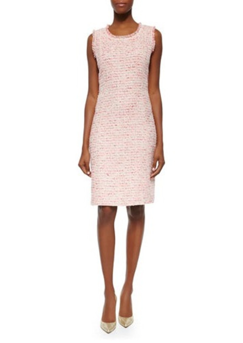 Neiman Marcus Sleeveless Boucle Sheath Dress