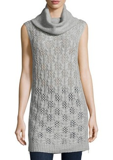 Neiman Marcus Cashmere Cable-Knit Sleeveless Tunic