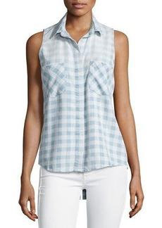 Neiman Marcus Sleeveless Check-Print Blouse