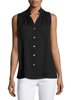 Neiman Marcus Sleeveless Collar Front Button-Down Top