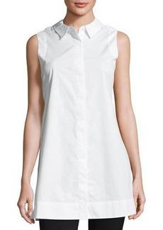 Neiman Marcus Sleeveless Collared Tunic Top