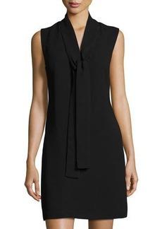 Neiman Marcus Sleeveless Crepe Tie-Neck Dress