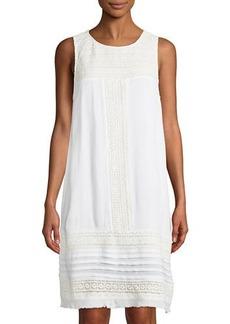 Neiman Marcus Sleeveless Crocheted Gauze Dress