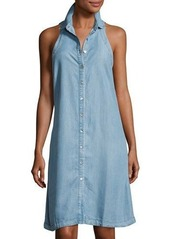 Neiman Marcus Sleeveless Denim Shirtdress