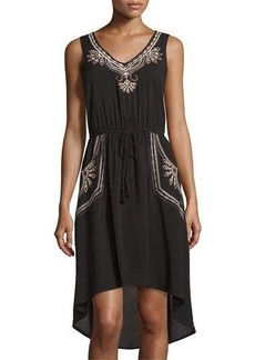 Neiman Marcus Sleeveless Embroidered High-Low Dress