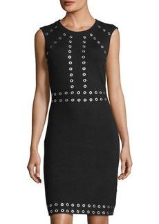 Neiman Marcus Sleeveless Grommet-Studded Dress