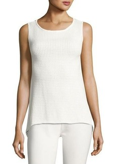 Neiman Marcus Sleeveless High-Low Knit Top