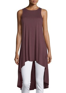 Neiman Marcus Sleeveless Jewel-Neck High-Low Tunic