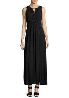 Neiman Marcus Sleeveless Keyhole Maxi Dress