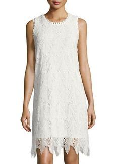 Neiman Marcus Sleeveless Lace-Overlay Dress