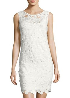 Neiman Marcus Sleeveless Lace Shift Dress