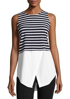 Neiman Marcus Sleeveless Layered Striped Top