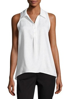Neiman Marcus Sleeveless Linen High-Low Blouse